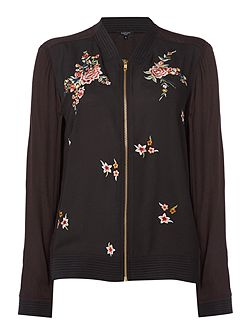 Farah Floral Embroidered Bomber Jacket