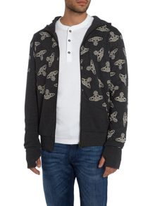 Vivienne Westwood Orb print zip through hoody