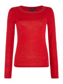 Armani Jeans Long sleeve embellished neck knit