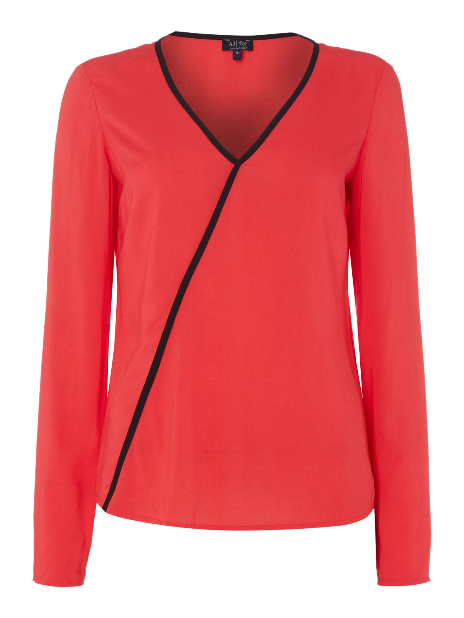 Armani Jeans Long sleeve v neck top with contrast piping, Red