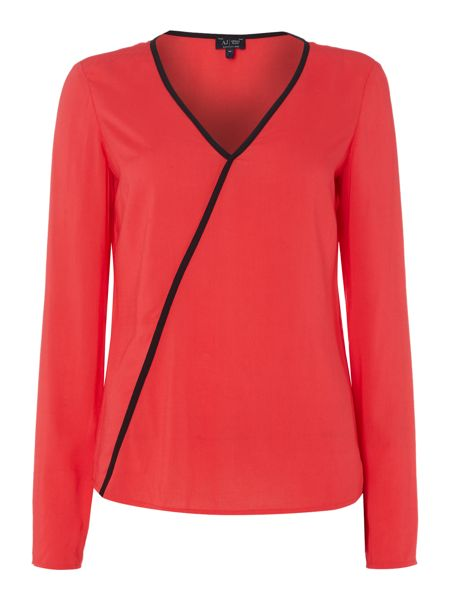 Armani Jeans Long sleeve v neck top with contrast piping