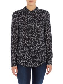 Armani Jeans Long sleeve all over print blouse