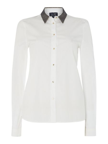 Armani Jeans Long sleeve shirt with lurex collar