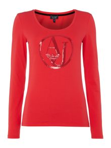 Armani Jeans Long sleeve sequin logo tee