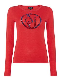 Long sleeve embroidered sequin top