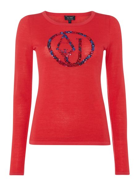 Armani Jeans Long sleeve embroidered sequin top