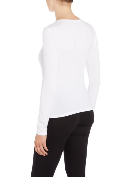 Armani Jeans Long sleeve flocked logo top