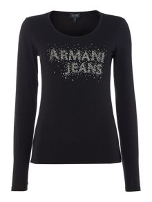 Armani Jeans Long sleeve stud logo top