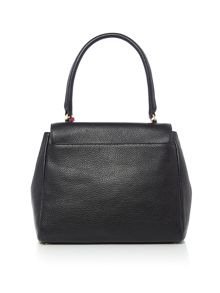 Lulu Guinness Rita Large Grainy Leather Bag with Lip Charm