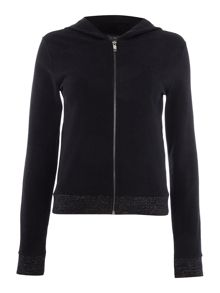 Armani Jeans Zip up hoodie with lurex hem