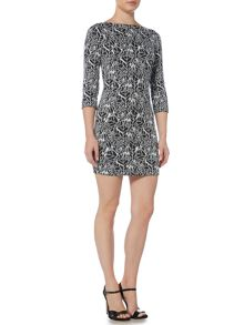 Armani Jeans 3/4 sleeve jacquard dress
