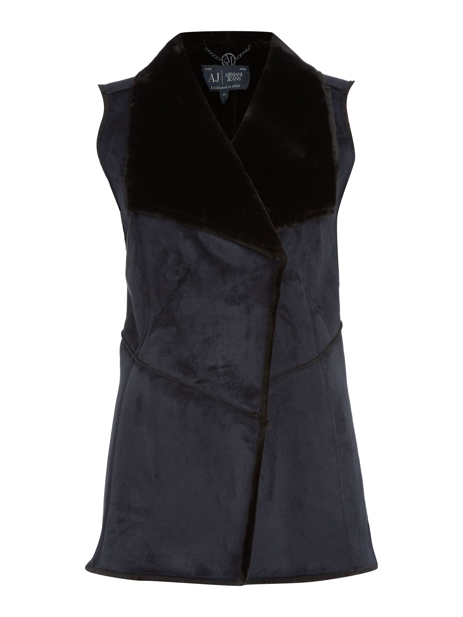 Armani Jeans Sleeveless faux fur jacket, Blue