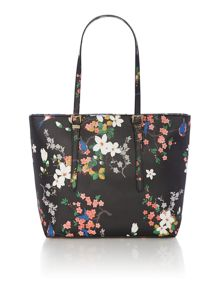 Guess Isabeau black floral large tote bag