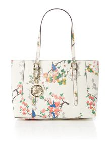 Guess Isabeau ivory floral medium tote bag