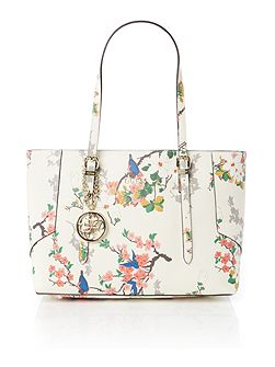 Isabeau ivory floral medium tote bag