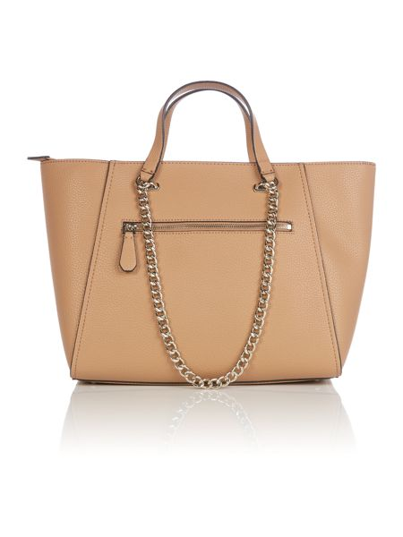 Guess Nikki taupe chain tote bag