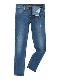 Skinny fit drainpipe distressed light wash jeans