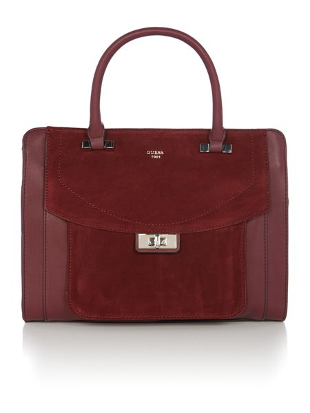 Guess Kingsley burgundy suede flapover tote bag