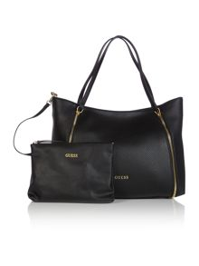 Guess Angie black zip tote bag