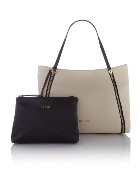 Guess Angie ivory zip tote bag