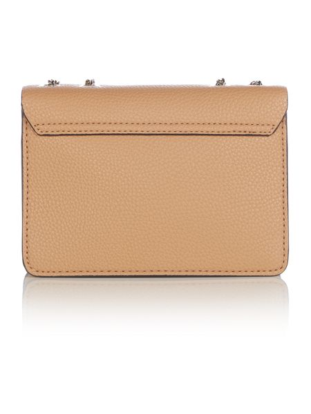 Guess Nikki taupe chain flapover crossbody bag