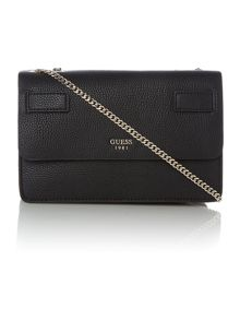 Guess Cate black flapover crossbody bag