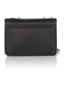 Guess Nikki black chain flapover crossbody bag