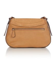 Guess Kingsley tan suede flapover crossbody bag