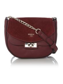 Guess Kingsley burgundy small suede flapover crossbody bag