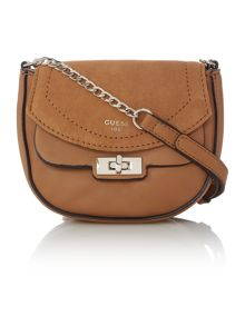 Guess Kingsley tan small suede flapover crossbody bag