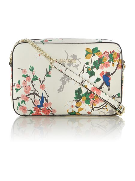 Guess Isabeau ivory floral small satchel bag