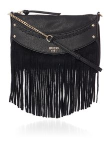 Guess Solene black top zip crossbody bag
