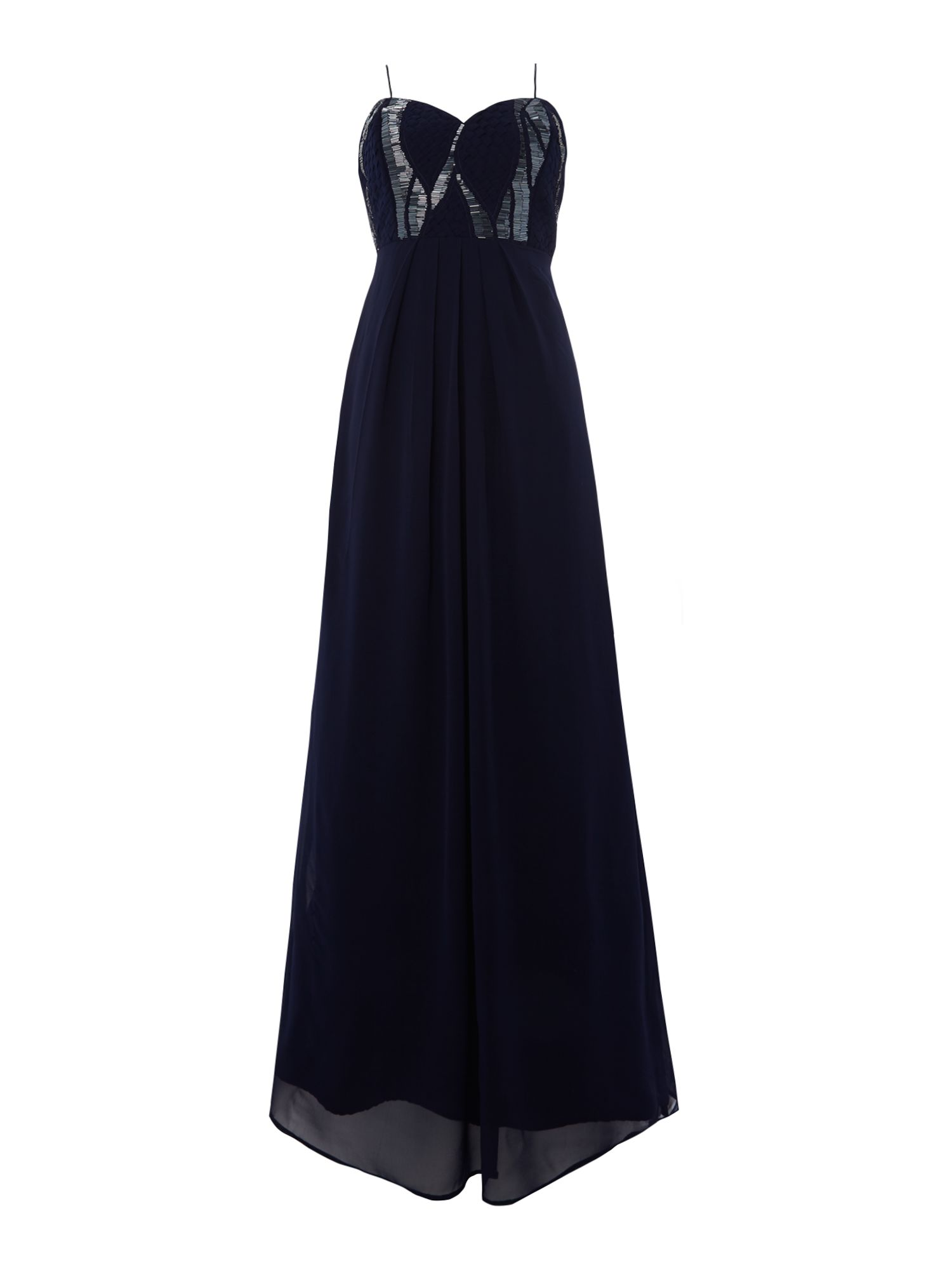 Lace and Beads Lace and Beads Bandeau Beaded Top Maxi Dress, Navy