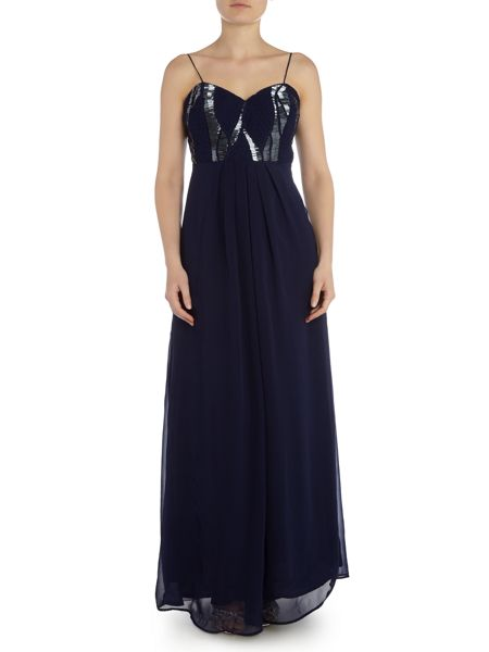 Lace and Beads Bandeau Beaded Top Maxi Dress