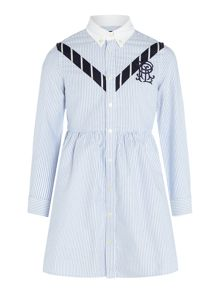 Polo Ralph Lauren Girls Pinstripe Fit & Flare Shirt Dress
