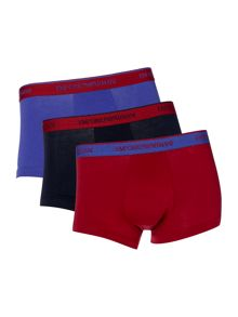 Emporio Armani 3 Pack of Contrast Waistband Trunks