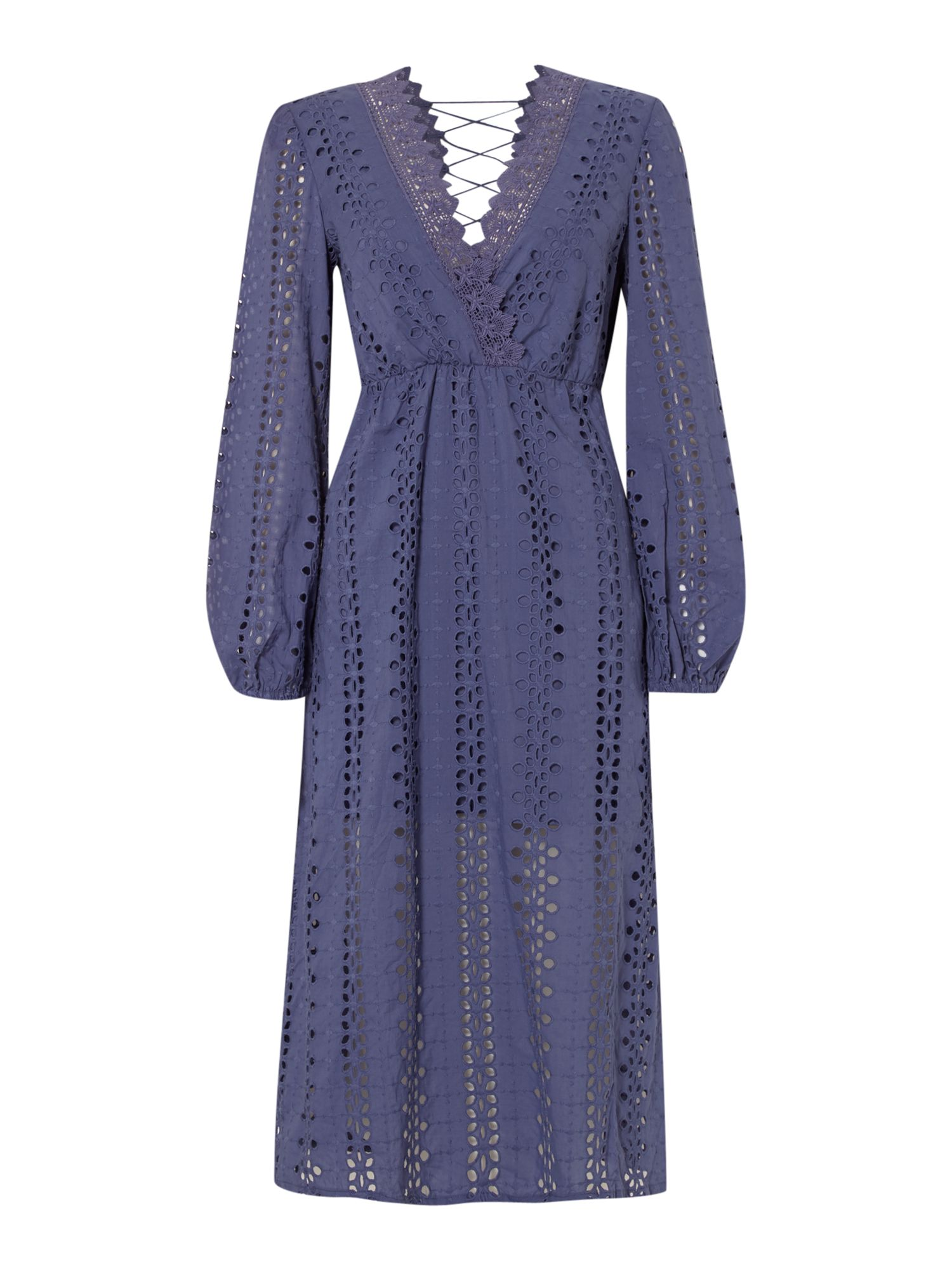 Bardot Long Sleeved Embroidered Maxi Lace Back Dress, Royal Blue