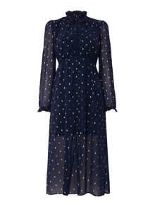 Bardot Long Sleeved Chiffon Maxi Dress Eyelet Detail