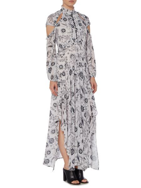 Bardot Cap Sleeve Cold Shoulder Floral Maxi Dress
