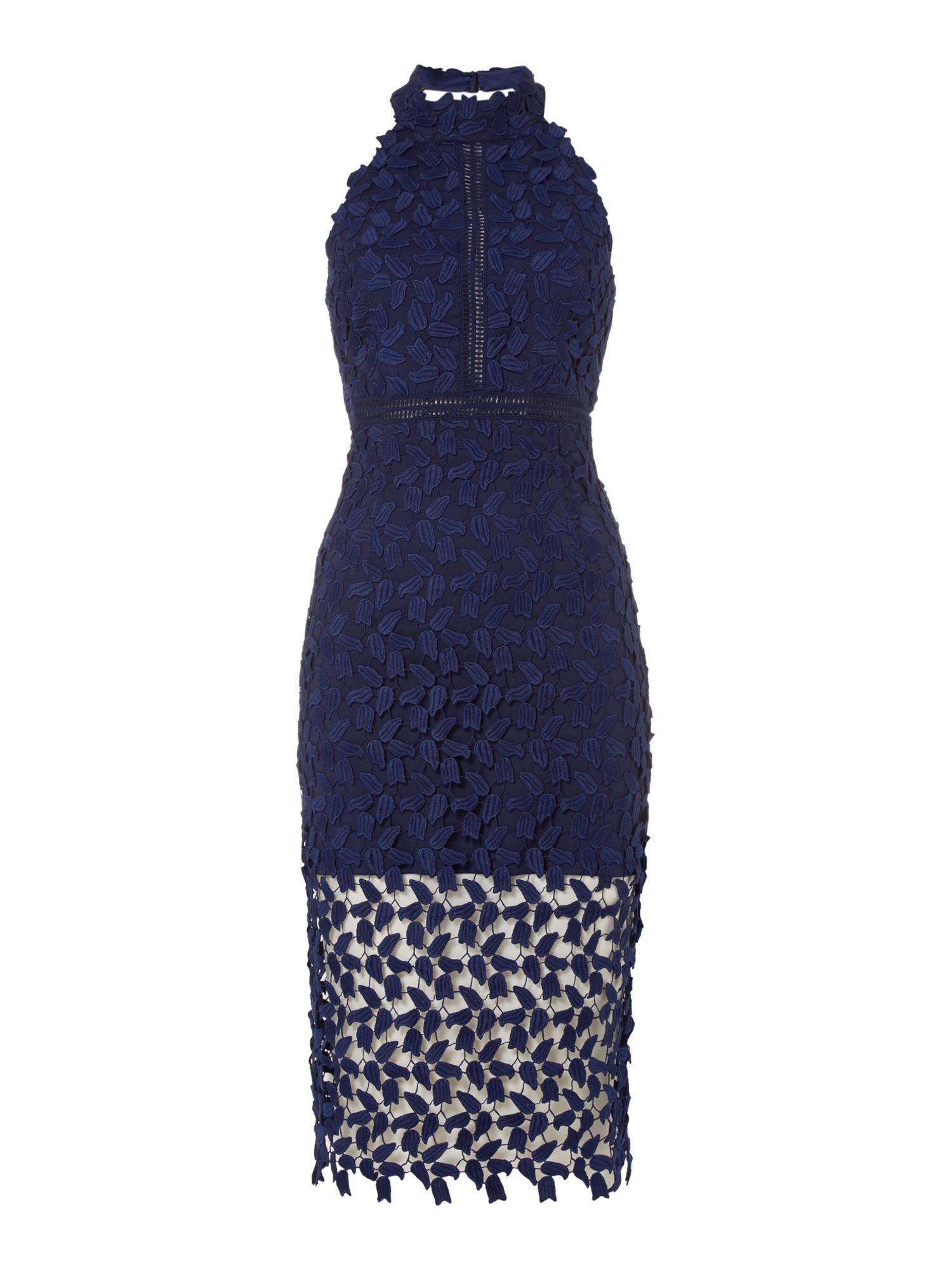 Bardot Sleeveless Halter Neck Embroidred Gemma Dress, Blue