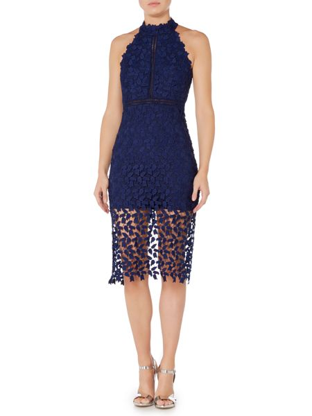 Bardot Sleeveless Halter Neck Embroidred Pencil Dress