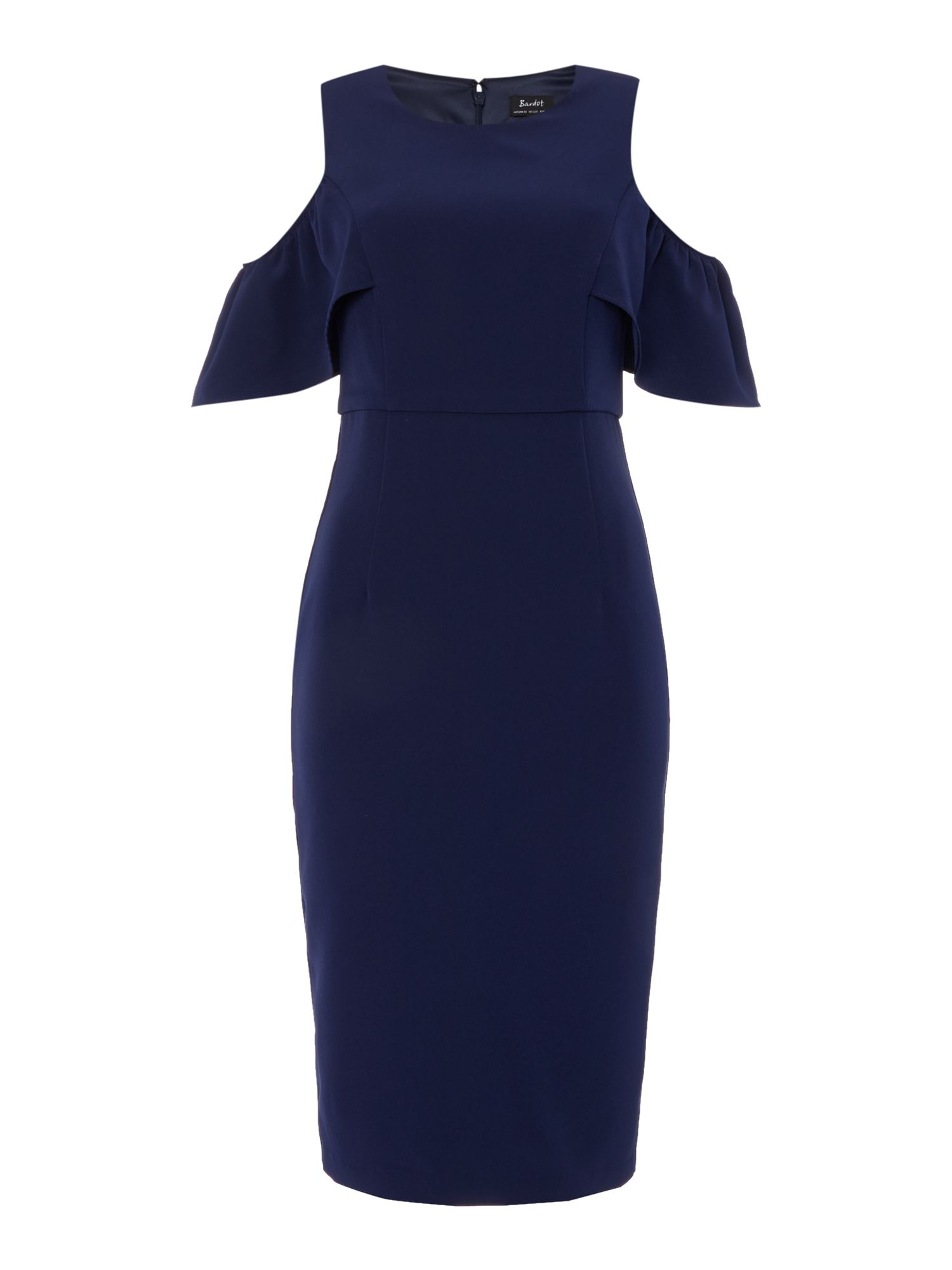Bardot Cold Shoulder Bodycon Dress, Blue