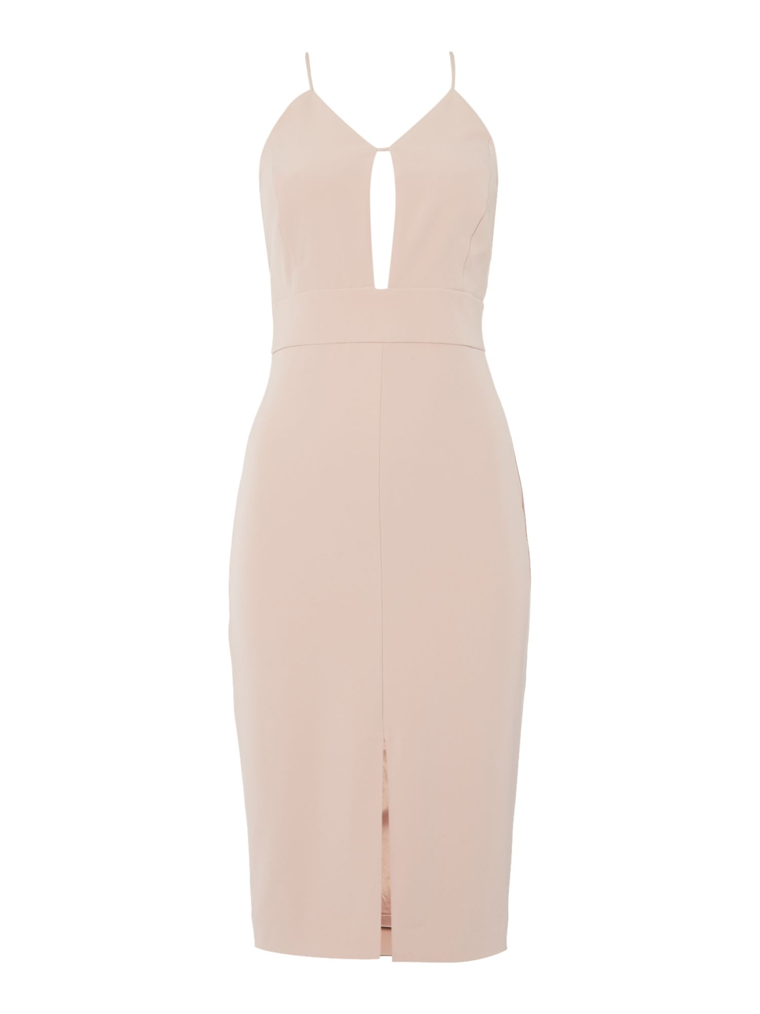 Bardot Sleeveless V Neck Cut Out Chest Bodycon Dress, Nude