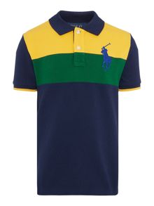 Polo Ralph Lauren Boys Block Stripe Big Logo Polo Shirt