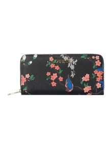 Guess Isabeau black floral large ziparound purse