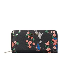 Isabeau black floral large ziparound purse