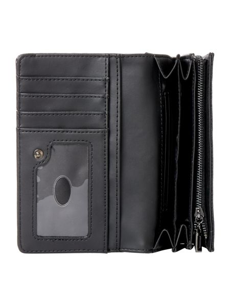 Guess Cate black patent flapover purse