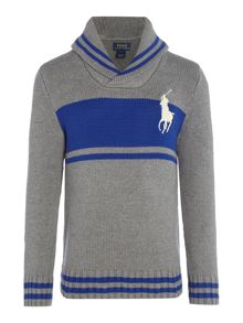 Polo Ralph Lauren Boys Block Stripe Shawl Neck Jumper