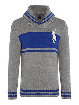 Boys Block Stripe Shawl Neck Jumper