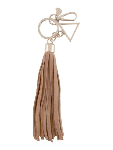 Guess Taupe tassle keychain